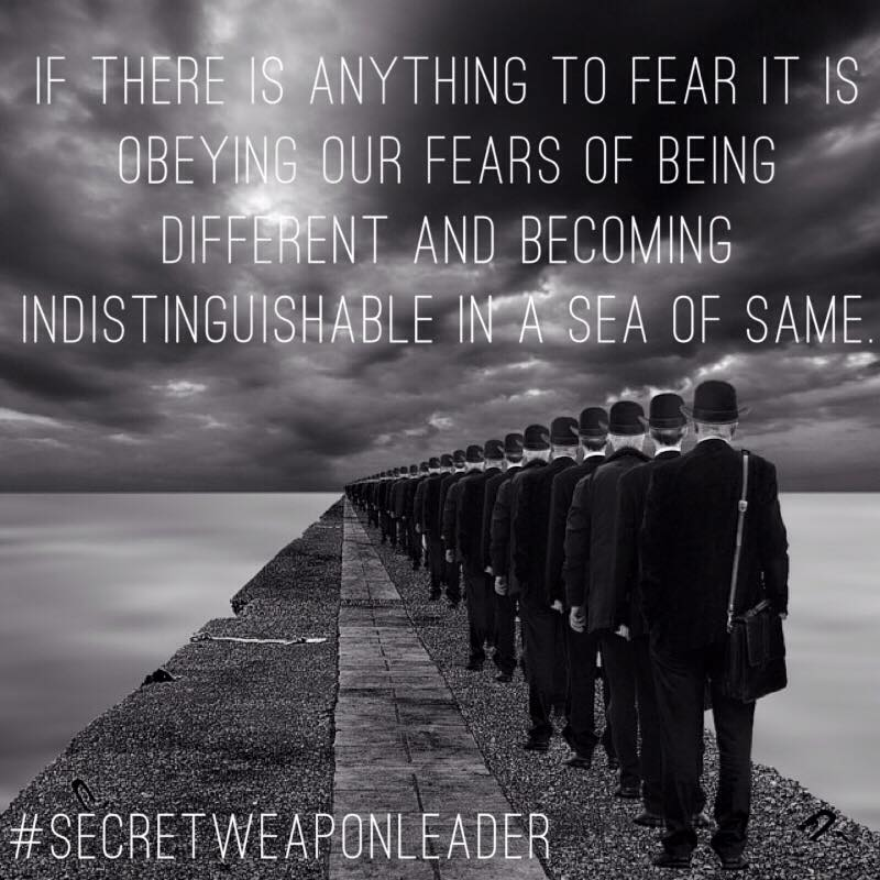 If there is anything to fear its obeying are fears of being different in a sea of the same