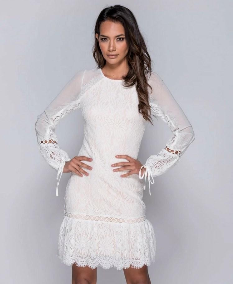 24536ffdde Strona główna   Sukienki   Mini   Nensens Sukienka Biała z Delikatnej  Koronki