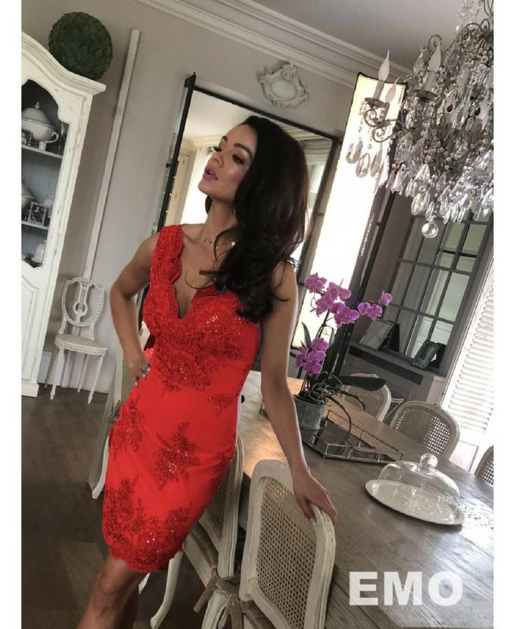 d021377a2d Salem Sukienka Koktajlowa Czerwona z Koronki Mini