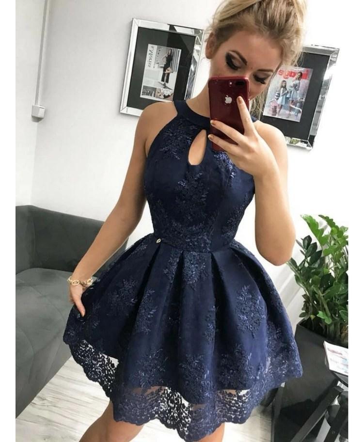 2ee6c93393 Strona główna   Sukienki   Glam   Ulani Sukienka Koronkowa Rozkloszowana  Granatowa