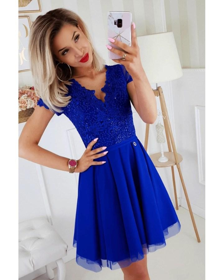 63d29fb4fd Moonick Sukienka Koronkowa Kobaltowa Rozkloszowana Mini