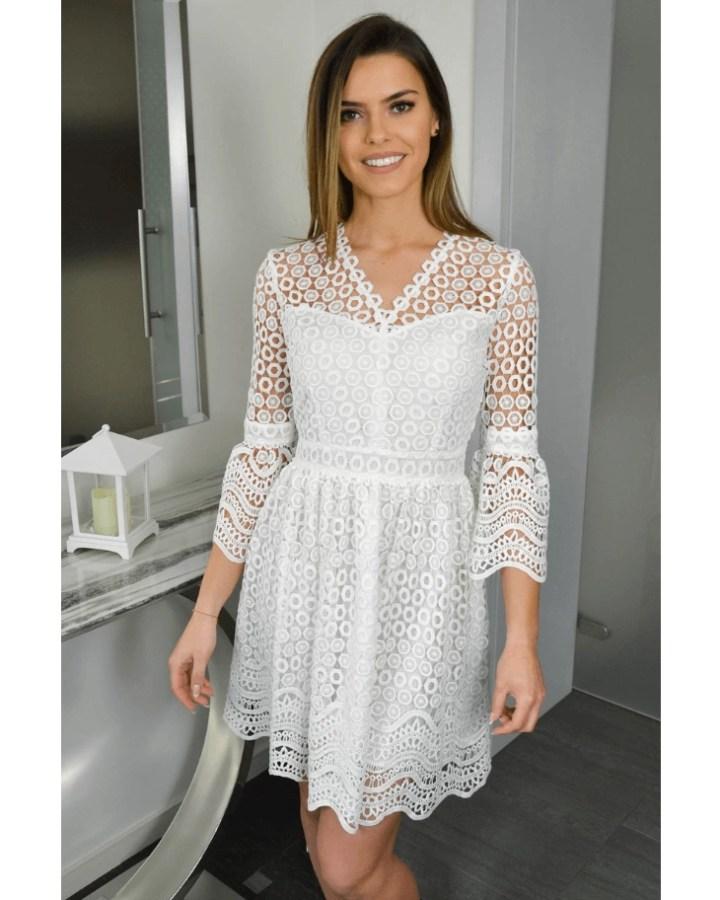 0ad421bf7b Klliona Sukienka Koronkowa Biała Ecru z Rękawem Mini