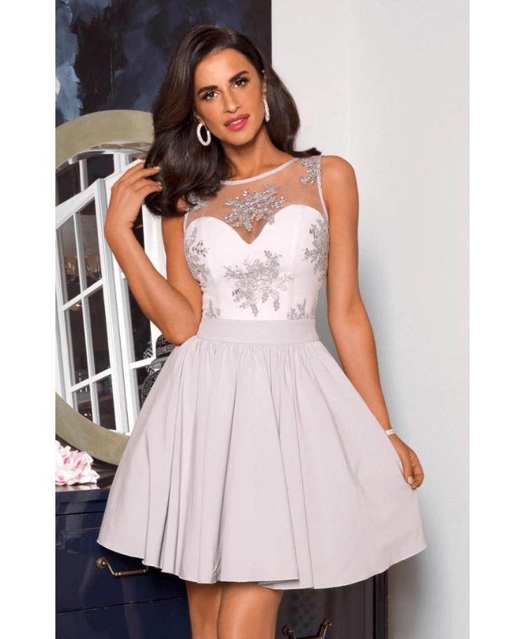 9d40181fb3 Strona główna   Sukienki   Szare   Stella Sukienka Koronkowa Rozkloszowana  Szara Stalowa Mini