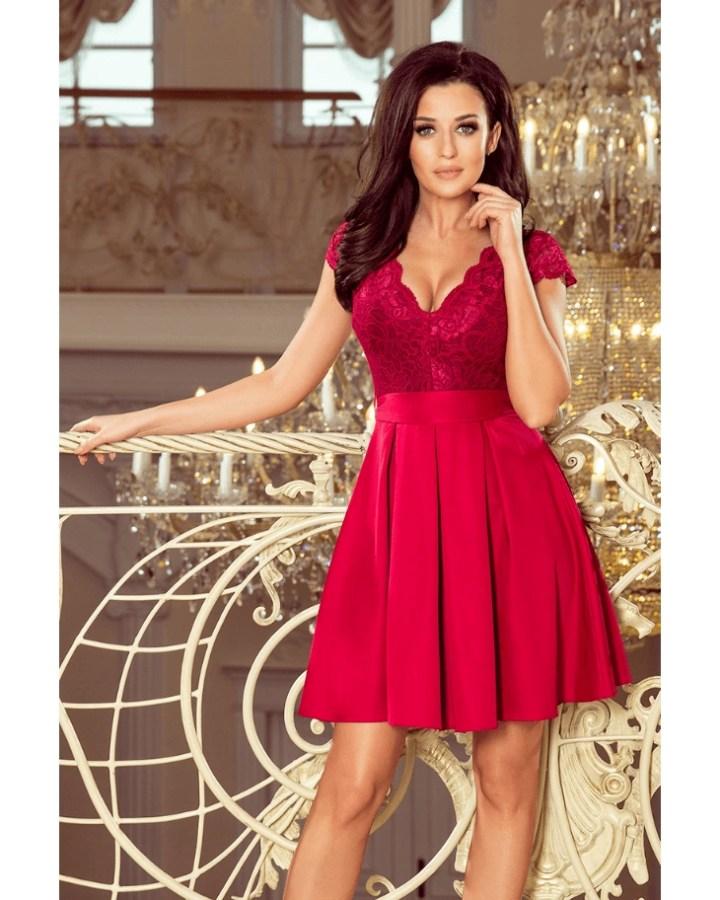 2aaafe4d80 Surri Sukienka Rozkloszowana Czerwona Bordo z Krótkim Rękawem Mini