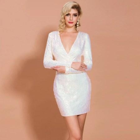 Sukienka Biała w Cekiny z Długim Rękawem Mini