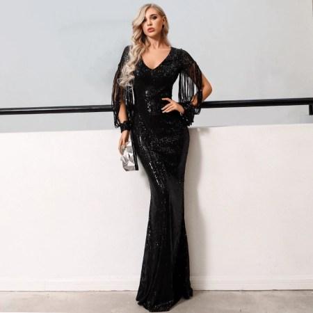 Sukienka Czarna w Cekiny Długa Maxi