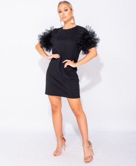Sukienka Czarna z Tiulowymi Rękawami Mini