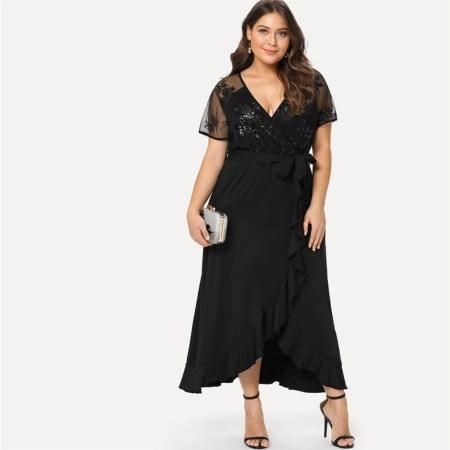 Sukienka w Cekiny z Krótkim Rękawem Długa Plus Size Maxi