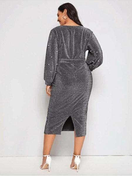 Sukienka Szara z Perełkami Plus Size