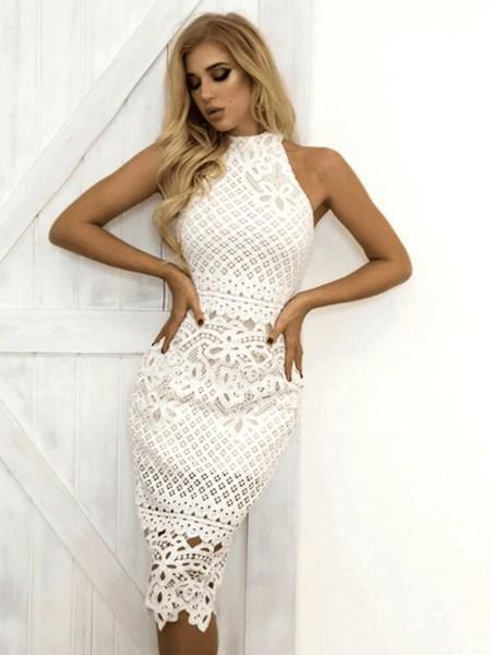 Sukienka Biała Koronkowa Bez Rękawów Midi
