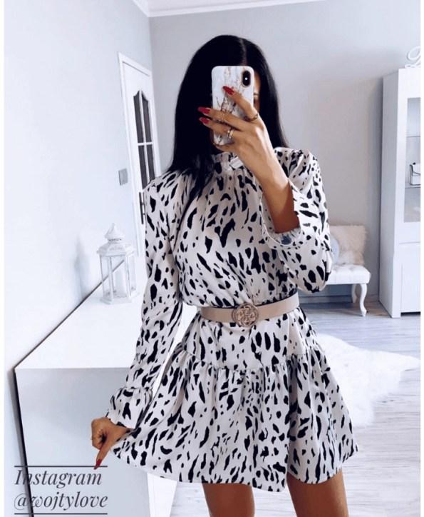 Secret Wish Boutique Sukienka Kremowa w Czarne Kropki z Długim Rękawem Mini (5)