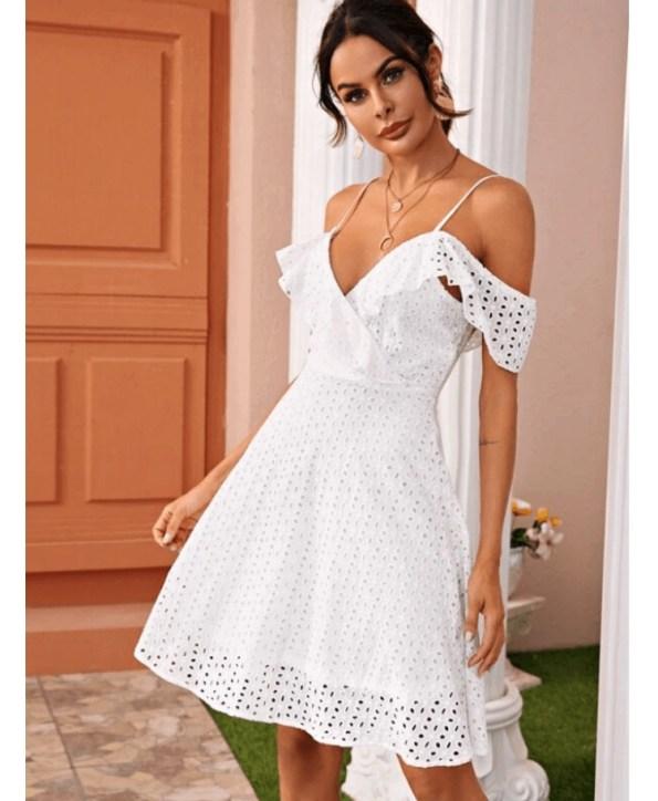 Secret Wish Boutique Sukienka Biała Koronkowa na Ramiączkach Mini (5)