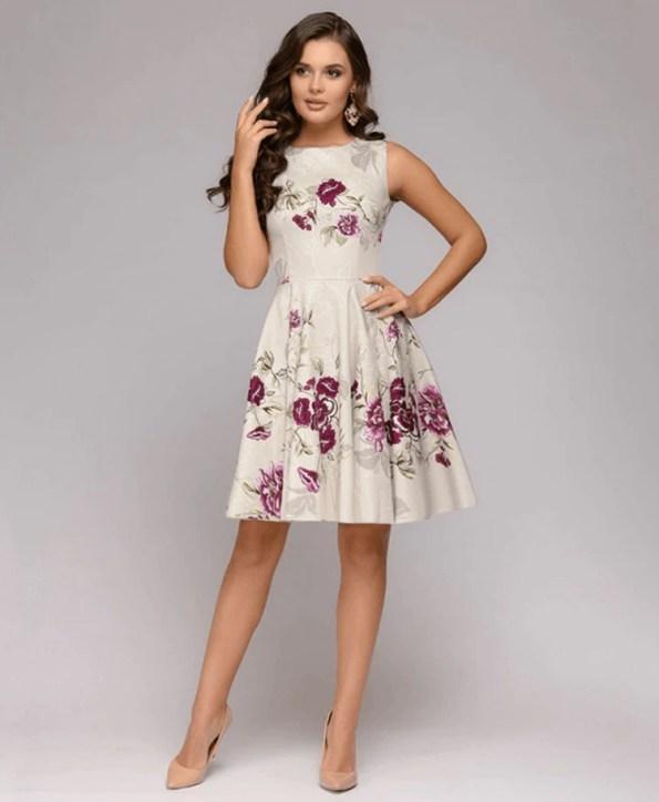 Secret Wish Boutique Sukienka Ecru Beżowa Rozkloszowana w Kwiaty Bez Rękawów Mini (2)