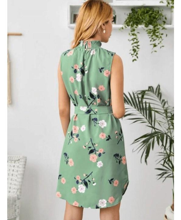 Secret Wish Boutique Sukienka Zielona w Kwiaty Bez Rękawów Mini (4)