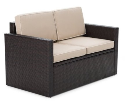 Wicker storage loveseat