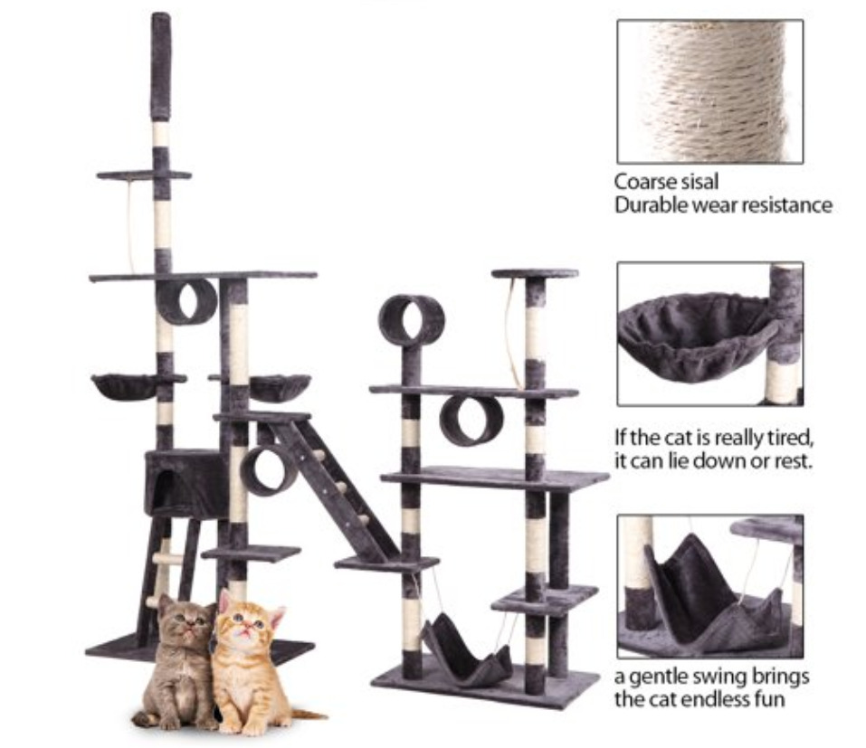 Cat Supplies: Multilevel activity cat tree condo play house condo with post tower