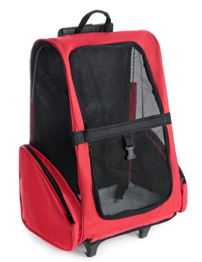 Cat Supplies: Wheeled travel pet carrier cat backpack suitcase pet stroller