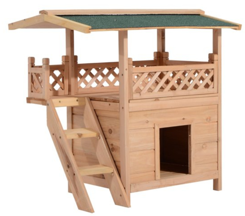 2-storey indoor/outdoor elevated wooden cat house shelter with balcony roof