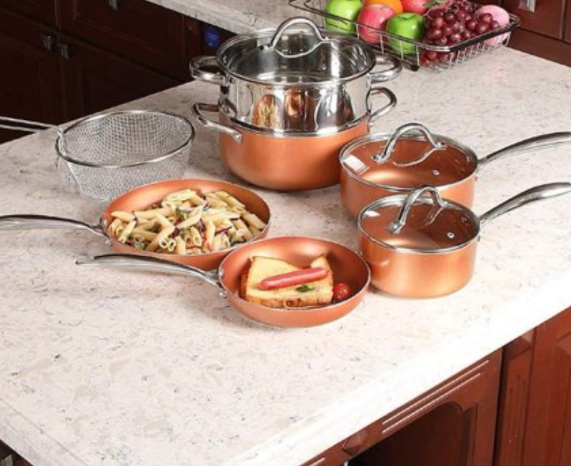 MF Studio 10 Piece Nonstick Set Copper Hammered Induction Set