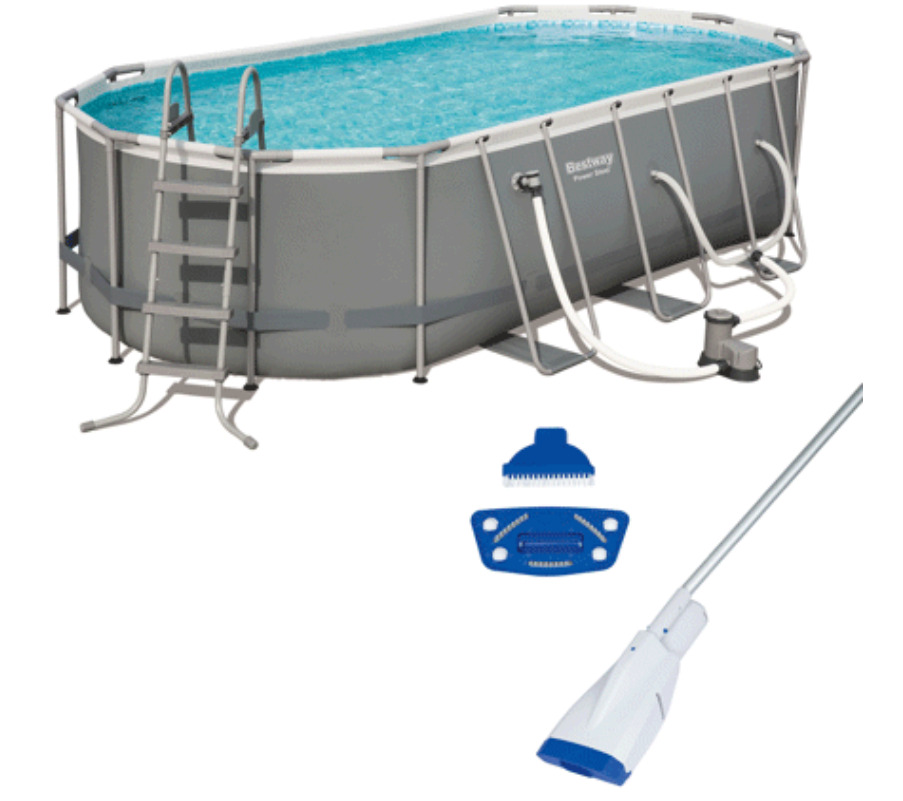 Bestway Power 18ft x 9ft x 48in Above Ground Pool Set with Pump and Aqua Vacuum