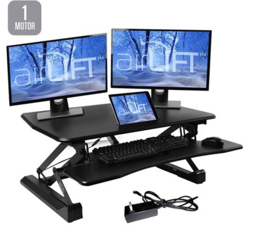 """AIRLIFT Black 35.4"""" Electric Height Adjustable Desk Converter Workstation, Dual Monitor Riser"""