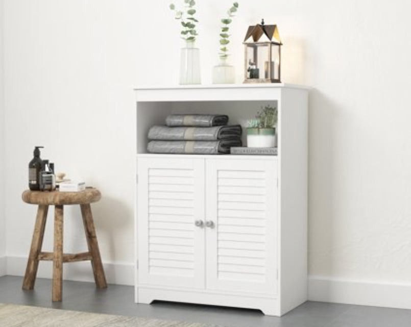 Spirich Bathroom Floor Cabinet with Double Louvered Doors and Adjustable Adjustable Shelves