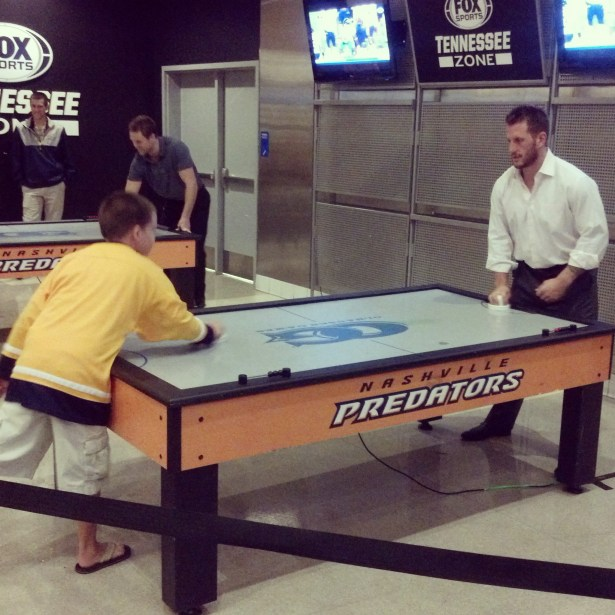 air hockey with Clune