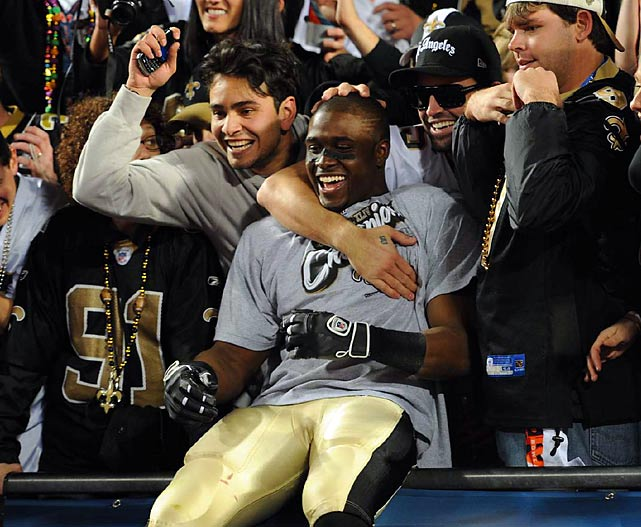 Reggie Bush celebrates the Saints 31-17 victory over the Colts in Super Bowl XLIV