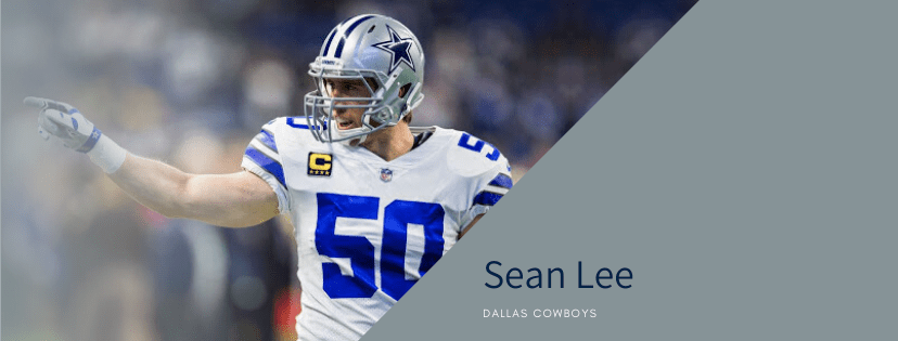 line backer sean lee dallas cowboys player in game pointing and staring