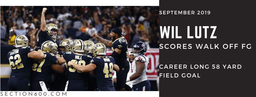 Best Saints games 2019, Wil Lutz graphic banner, Saints vs Texans