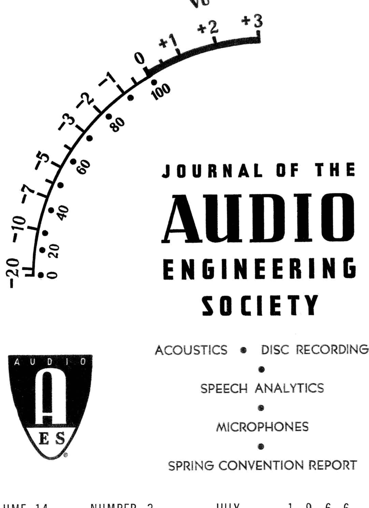Aes E Library Complete Journal Volume 14 Issue 3