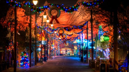 Radiator Spring Street in Cars land decorated for the holidays at Disney California Adventure Park