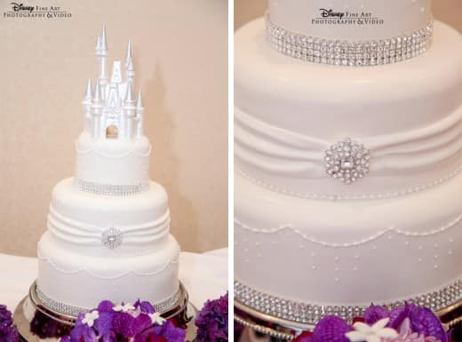 Wedding Cake Wednesday  White   Bling   Disney Weddings  Disney Weddings Classic white details  a chocolate castle cake topper and bling  I think  I m in heaven  What I love most about this cake is it s simplicity  it is  timeless