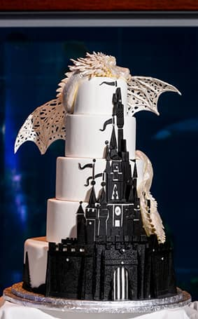 Wedding Cake Wednesday  Fantasy Frosting   Disney Weddings  Disney     The contrasting black against the white fondant completes the mystical and  magical aura of a fantasy lair      or fairy tale wedding