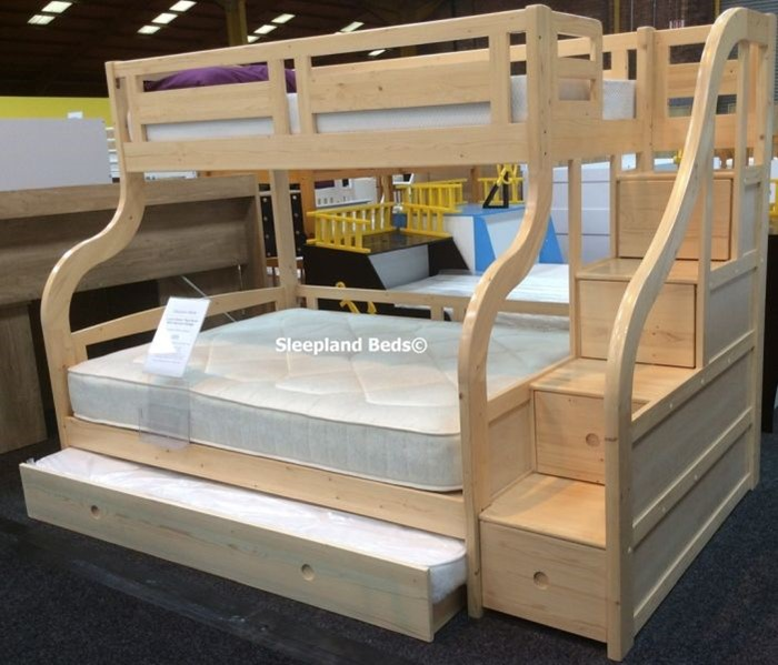 Luxury Carved Solid Pine Wood Double Bunk Beds With Staircase And Guest Bed
