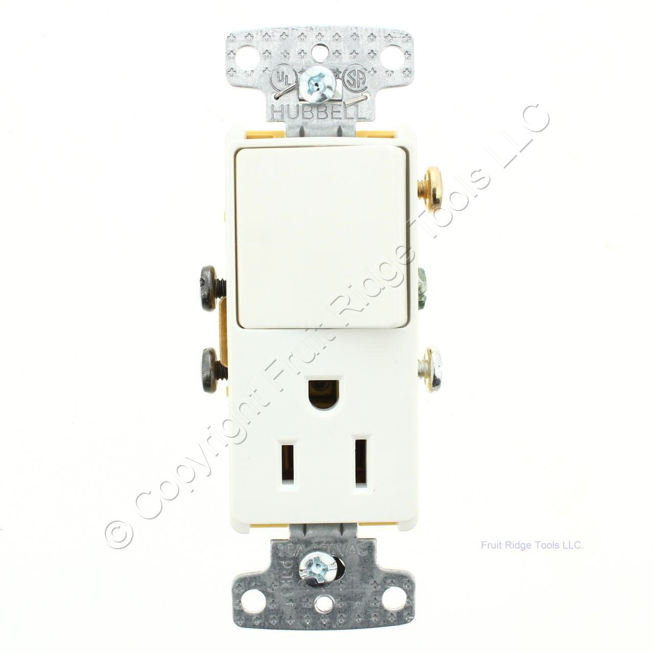 Hubbell White Decorator Single Pole Rocker Switch Outlet