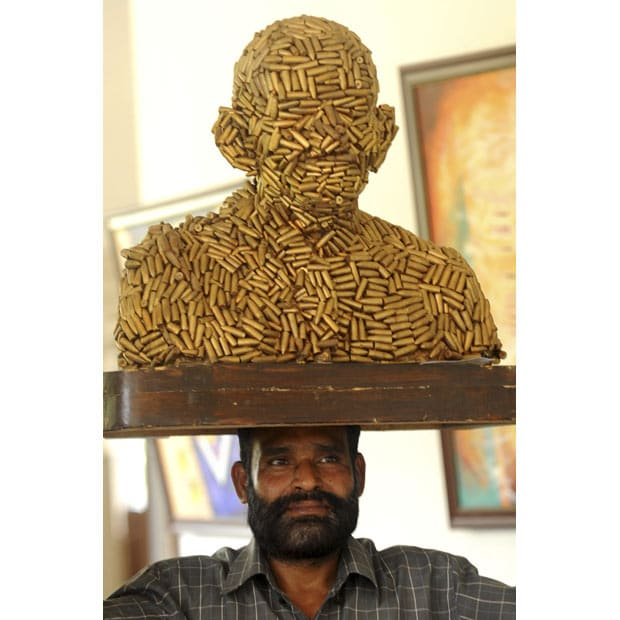 Image result for sculpture made from bullets
