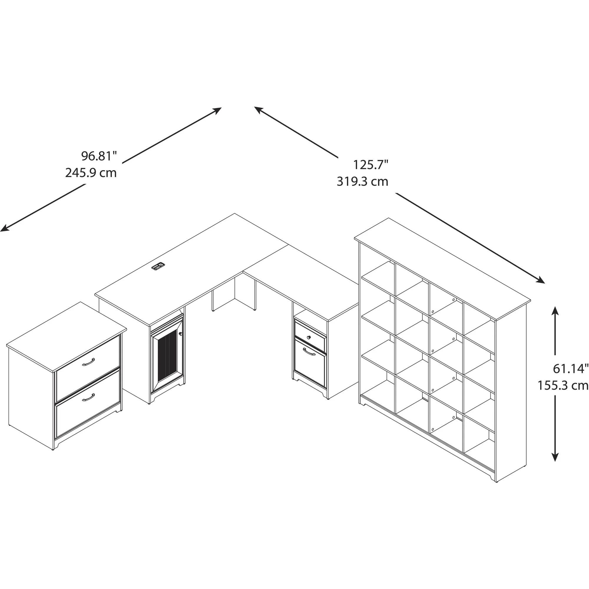Bush Furniture Cabot 3 Piece L Shape Desk Office Suite