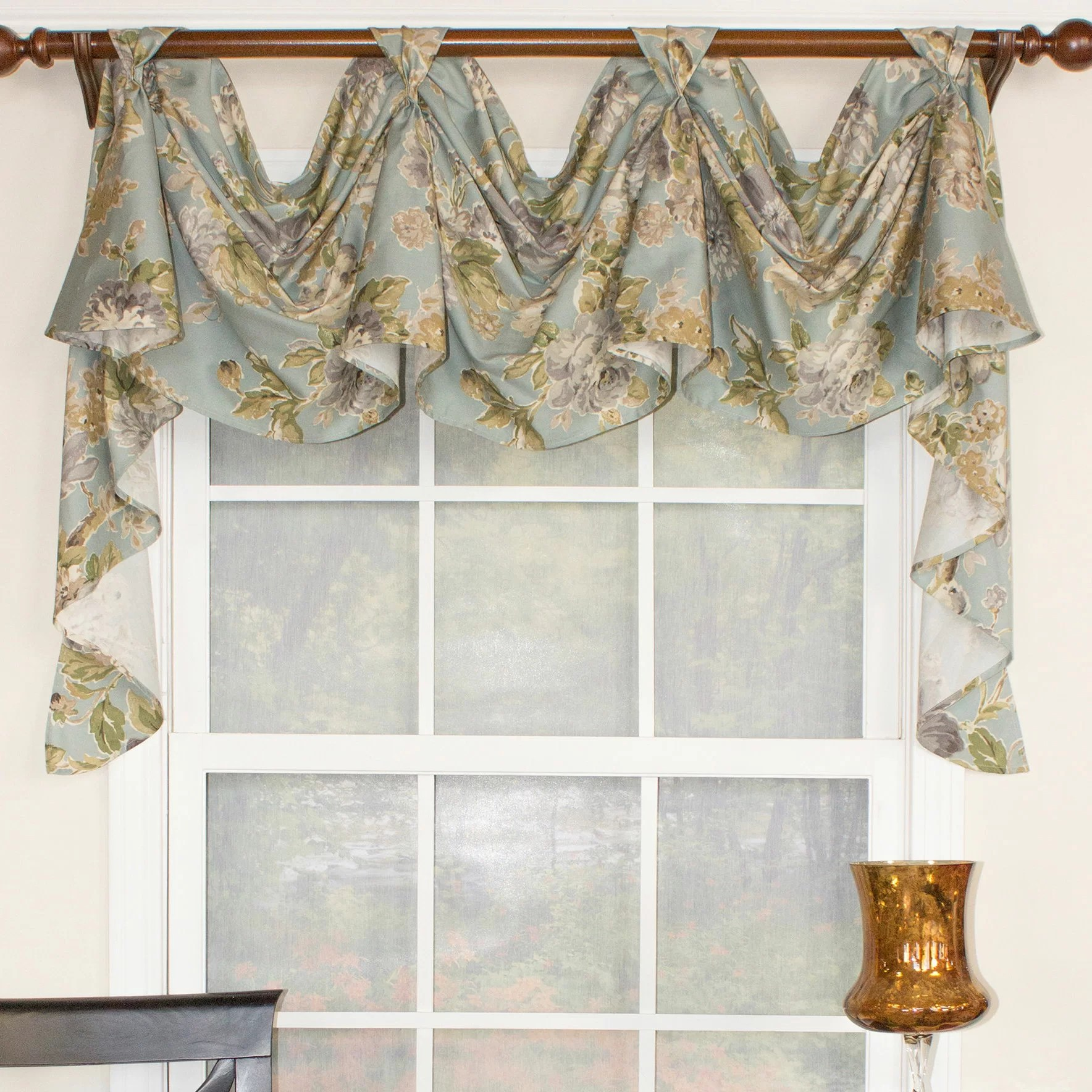 RLF Home Floral Essence 3 Scoop Victory Swag Curtain