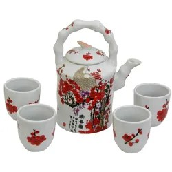 5 Piece Porcelain Cherry Blossom Teapot Set