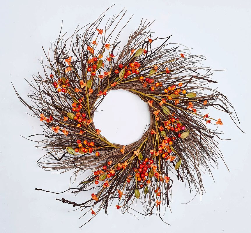Fall Berry Twig 24 in. Wreath