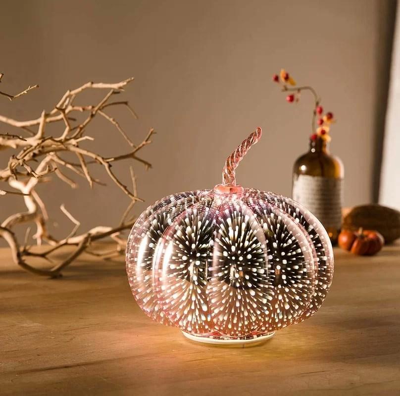 Lighted Glowing Stargazing Pumpkin Globe
