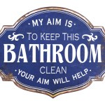 17 Stories Vintage Metal Bathroom Wall Sign With Distressed