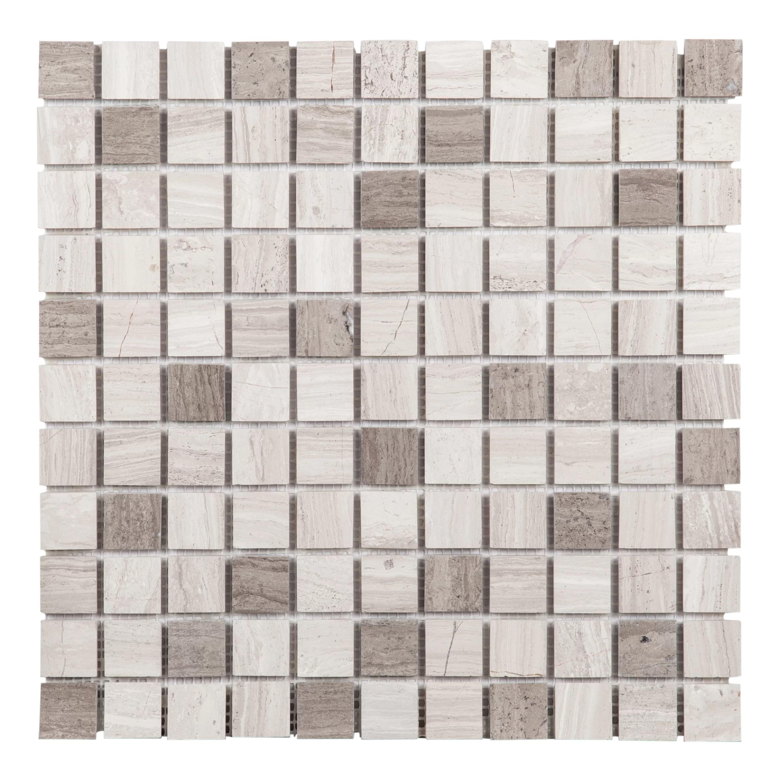 white wood grain grey wood grain 1 x 1 natural stone wood look mosaic subway tile