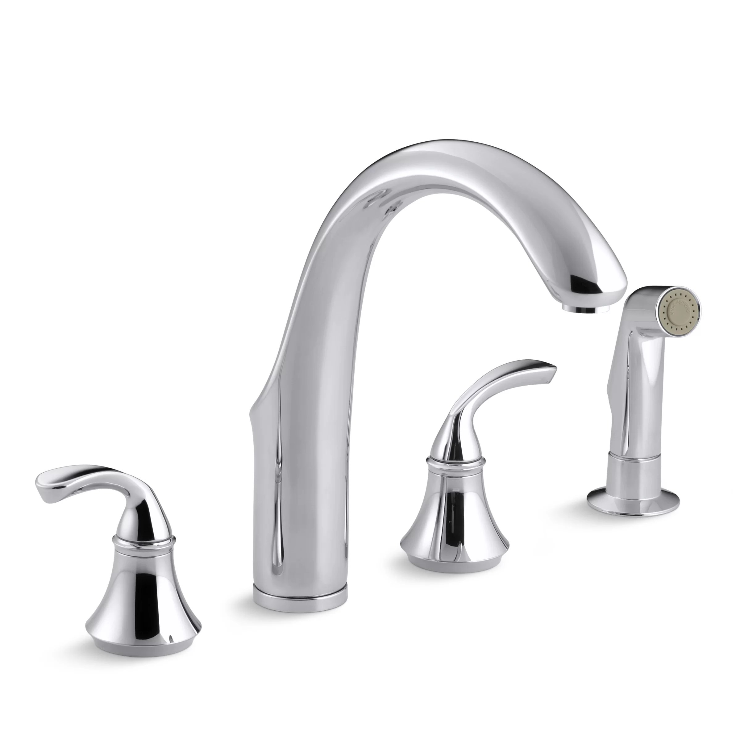 forte 4 hole kitchen sink faucet with 7 3 4 spout matching finish sidespray