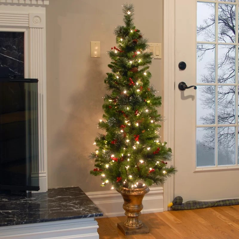 Spruce Entrance Green Artificial Christmas Tree with 150 Pre-Lit Clear Lights with Urn Base