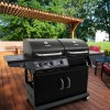 3-Burner Deluxe Combo Propane Gas and Charcoal Grill