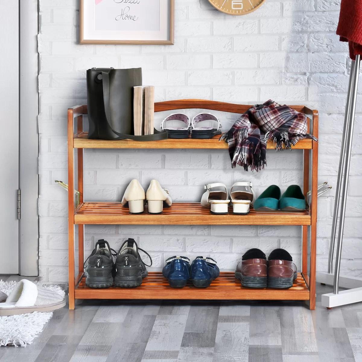 3 tier wood freestanding heavy duty 12 pair shoe rack