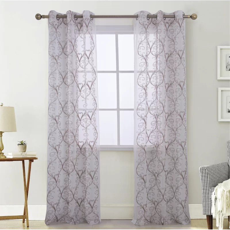 eastwood damask semi sheer grommet curtain panels