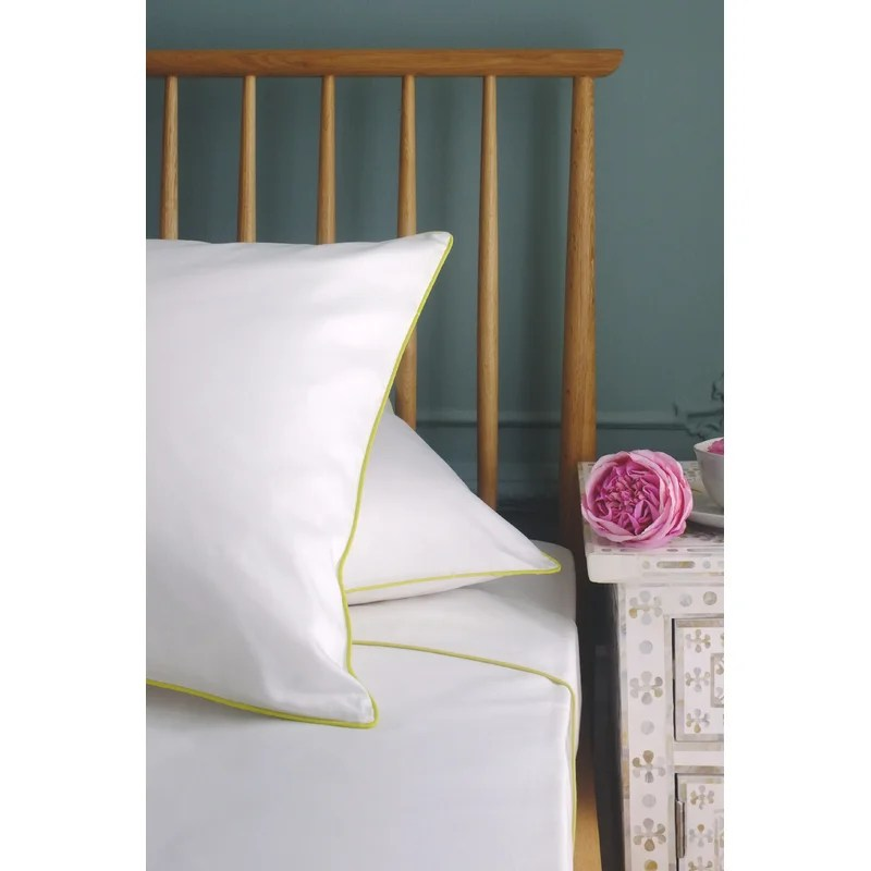 Bluebellgray sheets with lime green piping